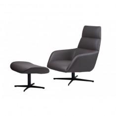 Berkeley лаунж крісло з підставкою, сірий графіт (112011)