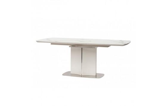 Albury стіл розкладний скло + МДФ 160-200 см білий (111933)
