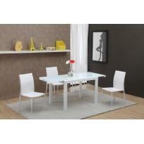 Стіл обідній розкладний скляний білий DAOSUN DF 103Т