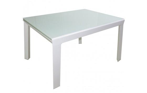 Стіл кухонний розкладний скляний білий DAOSUN RF 1078 1DT