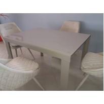 Стол кухонный раскладной стеклянный серо-бежевый DAOSUN RF 1078 1DT
