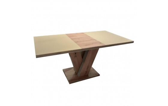Стол обеденный раскладной стеклянный с МДФ дуб артизан сатин DAOSUN DT 402 U