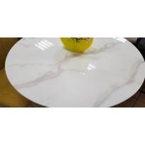 Стіл обідній нерозкладний скляний білий мармур DAOSUN UDT 9003