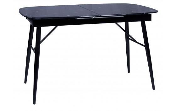 Стіл обідній розкладний скляний чорний мармур DAOSUN UDT 9016