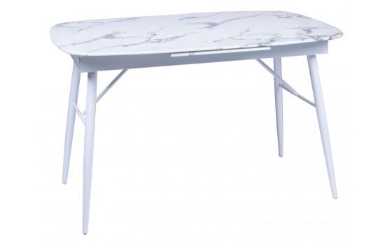 Стіл обідній розкладний UDT 9016 скляний мармур білий