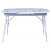 Стіл обідній розкладний скляний білий мармур DAOSUN UDT 9016