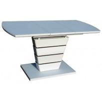 Стол кухонный раскладной стеклянный с МДФ белый сатин DT 8103 small