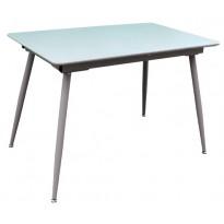 Стол кухонный раскладной стеклянный с МДФ серо-бежевый сатин DAOSUN DT 859s