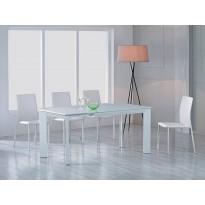 Стол обеденный раскладной белый сатин DAOSUN DF 201T