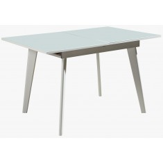 Стол обеденный раскладной стеклянный с МДФ белый сатин DAOSUN DSТ 156