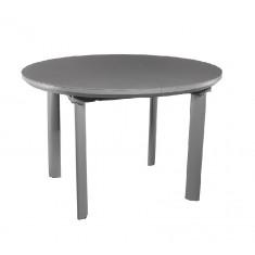 Стол обеденный раскладной стеклянный с МДФ серый сатин DAOSUN DT 8107