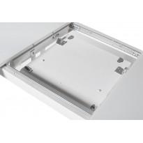 Стол обеденный раскладной стеклянный с МДФ белый сатин DAOSUN DT 859
