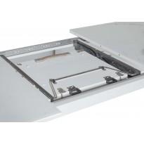Стол обеденный раскладной стеклянный с МДФ белый мрамор сатин DAOSUN DT 874