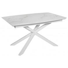 Стол обеденный раскладной стеклянный с МДФ белый мрамор сатин DAOSUN DT 888B