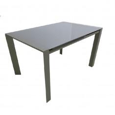 Стіл кухонний розкладний скляний сіро-бежевий DAOSUN RF 1055 ADT