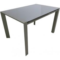 Стол кухонный раскладной стеклянный серо-бежевый сатин DAOSUN RF 1055 ADT