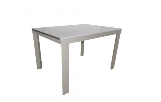 Стол кухонный раскладной стеклянный серо-бежевый сатин DAOSUN RF 1078 1DT