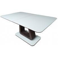 Стіл обідній розкладний скляний з МДФ білий з венге сатин DAOSUN DST 401