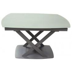 Стол обеденный раскладной стеклянный серо-бежевый сатин DAOSUN DT 8106