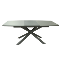 Стіл обідній розкладний скляний з МДФ сірий сатин DAOSUN DT 888B