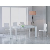 Стіл обідній розкладний скляний білий DAOSUN DF 201T
