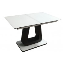 Стол обеденный раскладной стеклянный с МДФ белый с венге сатин DAOSUN DT 8104