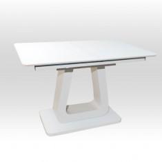 Стіл обідній розкладний скляний з МДФ білий дуб мат DAOSUN DT 8104