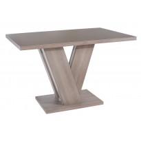 Стол обеденный нераскладной стеклянный с МДФ дуб серо-бежевый сатин DAOSUN DT 402 U
