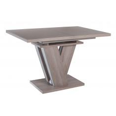 Стол обеденный раскладной стеклянный с МДФ дуб серо-бежевый сатин DAOSUN DT 402 ..