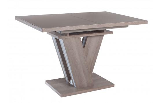 Стол обеденный раскладной стеклянный с МДФ дуб серо-бежевый сатин DAOSUN DT 402 U