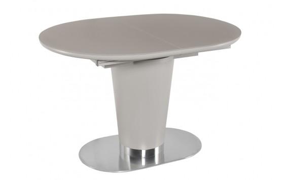 Стол обеденный раскладной стеклянный с МДФ серо-бежевый сатин DAOSUN DT 8102