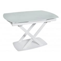 Стол обеденный раскладной стеклянный белый мрамор сатин DAOSUN DT 8106