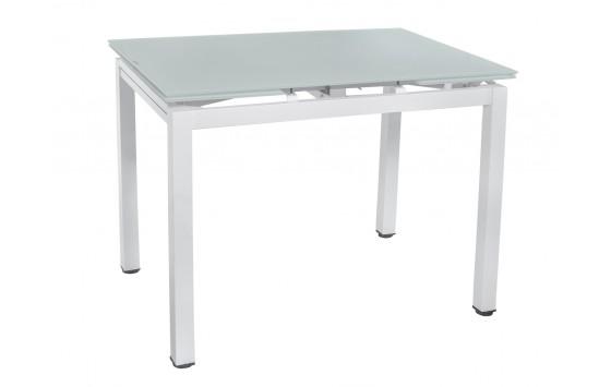 Стіл обідній розкладний скляний білий DAOSUN DT 8110