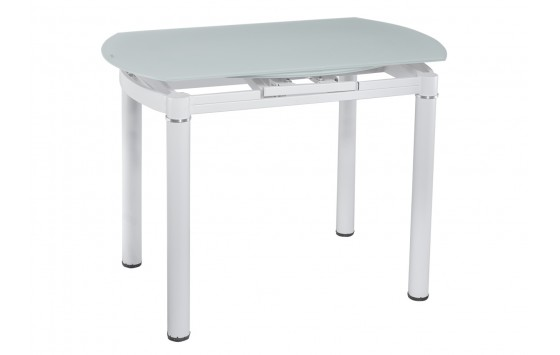 Стіл обідній розкладний скляний білий DAOSUN DT 8111