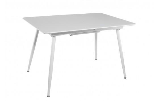 Стол кухонный раскладной стеклянный с МДФ белый сатин DAOSUN DT 859