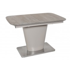 Стіл обідній розкладний скляний з МДФ кераміка сірий DAOSUN DT 874