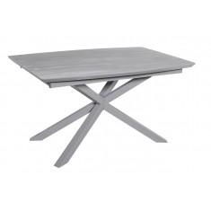 Стол обеденный раскладной стеклянный с МДФ серый дуб сатин DAOSUN DT 888B