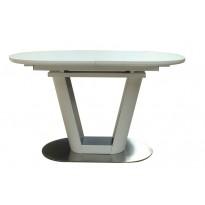 Стол обеденный раскладной стеклянный с МДФ белый сатин DAOSUN DT 8105