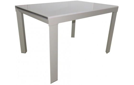 Стіл кухонний розкладний скляний сіро-бежевий DAOSUN RF 1078 1DT