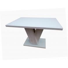 Стол обеденный нераскладной стеклянный с МДФ белый дуб DAOSUN DSТ 402