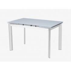Стол обеденный раскладной стеклянный белый сатин DAOSUN DSТ 017