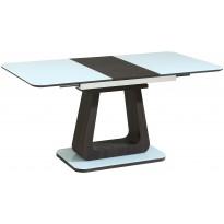 Стол обеденный раскладной стеклянный с МДФ белый с венге сатин DAOSUN DSТ 401