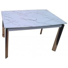 Стол обеденный раскладной стеклянный под белый мрамор DAOSUN DSТ 017