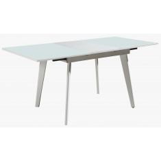 Стол обеденный раскладной стеклянный с МДФ белый DAOSUN DSТ 156