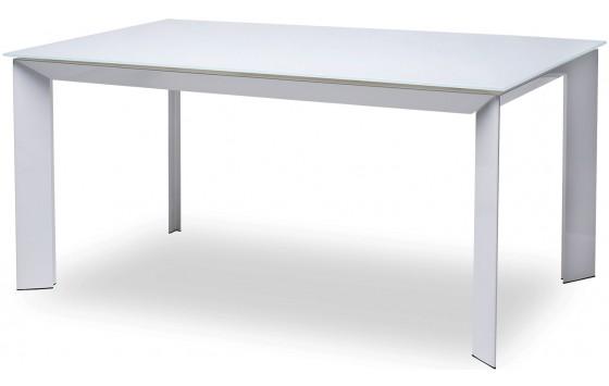 Стіл обідній розкладний скляний білий DAOSUN DF 201 T