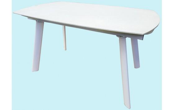 Стіл обідній розкладний скляний з каменем білий DAOSUN DST 105