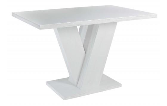 Стол обеденный нераскладной стеклянный с МДФ сосна белая сатин DAOSUN DT 402 U