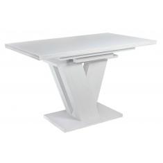 Стол обеденный раскладной стеклянный с МДФ сосна белая сатин DAOSUN DT 402 U