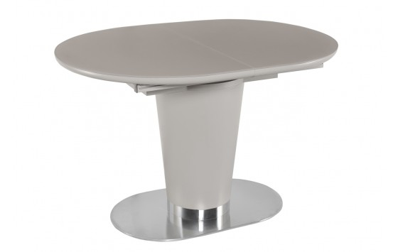 Стіл обідній розкладний скляний з МДФ сіро-бежевий DAOSUN DT 8102