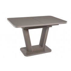 Стол обеденный раскладной стеклянный с МДФ дуб серо-бежевый сатин DAOSUN DT 8104..